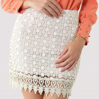 White Crochet Daisy Bud Skirt - Retro, Indie and Unique Fashion