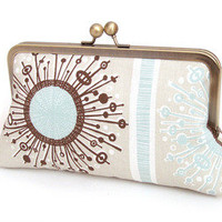 Red Ruby Rose — Stellar starburst, silk-lined clutch bag