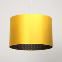 Lights Of London — Sunflower yellow silk lampshade with gold geometrc print