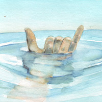Original watercolor surfer art surf surfing water ocean wet sea blue