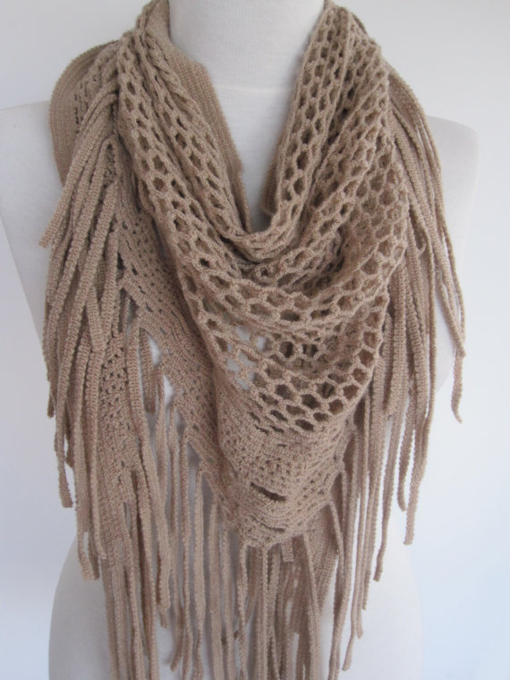 Knitting Pattern Scarf With Fringe : Beige Knitted Fringed Scarf / Shawl, Lace from mediterraneanlight