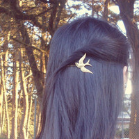 Bird Bobby Pin - Flying Gold Sparrow - Cute Adorable Boho Bohemian Rustic Indie Elegant Romantic - Whimsical - Dreamy - Woodland Collection