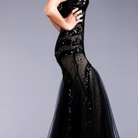 Jovani 153050 Black/Nude Strapless Sequin Evening Gown Prom Dress 0 to 14 New