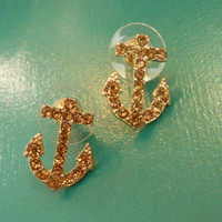 Rhinestone Anchor Earrings - Stud Earrings - Gold Anchor Earrings