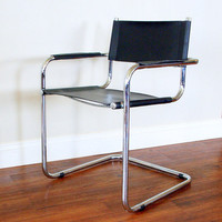 MODERN VINTAGE BLACK Leather Chair Cantilever Tubular Chrome Steel Frame Desk, Dining , Office, Living Room, Armchair Mid Century Furniture