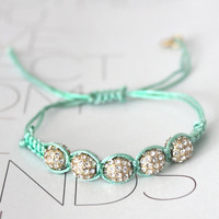 Light GREEN Neon Arm Party Shashi Friendship Bracelet with Rhinestone Crystal Ball J.CREW Inspired