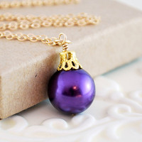 Purple Glass Pearl Necklace Christmas Jewelry Ball Ornament Wire Wrapped Gold Filled Holiday Complimentary Shipping