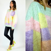 PASTEL color block PREPPY hipster chic SWEATER jumper, extra small-large