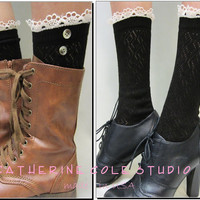 Prairie Girl / City Girl BLACK  lace socks for combat boots / country cowboy boots 3 colorssocks victorian boots Catherine Cole made in usa