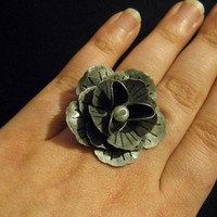 Elsa Cocktail Ring - Antique Silver Layered Metal Flower White Pearl Canter on Antique Silver Adjustable Band - Art Nouveau Vintage Gift
