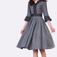 Grey dress custom make linen  (MM03)