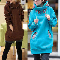 Fashion Korean Style Women&#x27;s Casual Solid Color Long Sleeve Sweater Coat Hoodies