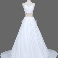 A-line Spaghetti Straps Sleeveless Chapel Train Chiffon  Wedding Dress With Sashes Beading Free Shipping