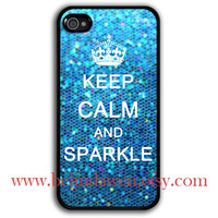 iphone 4 case, iphone 4s case, Keep Calm and sparkle Painting black hard case, blue sparkle