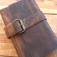 Leather journal large refillable hand stitched