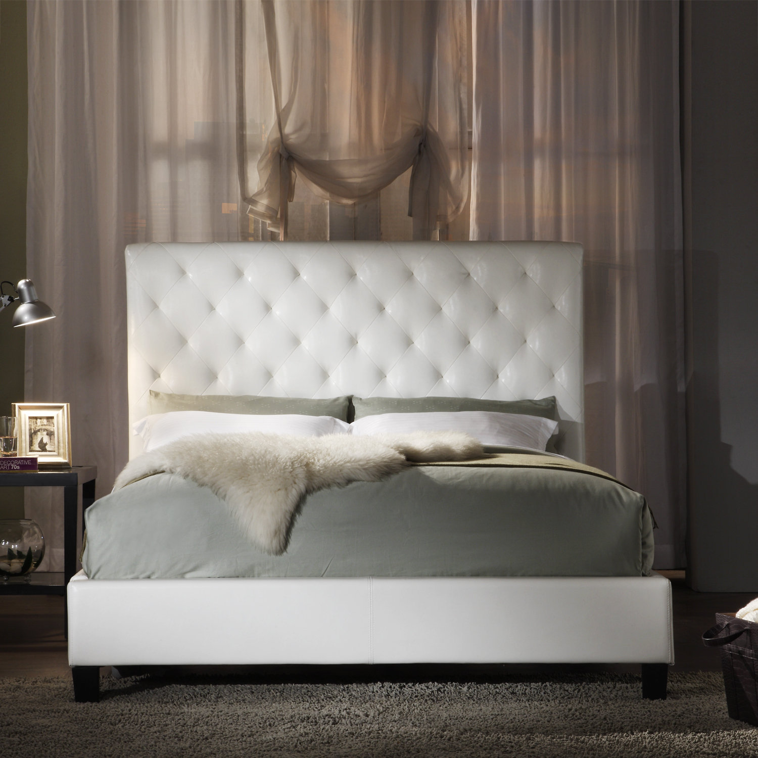 sophie white vinyl tufted king size bed from overstock for my. Black Bedroom Furniture Sets. Home Design Ideas