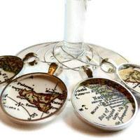 Italian Wine Charms, Italy Map Wine Charm set, Sicily, Rome, Venice, Naples set of 4 map charms