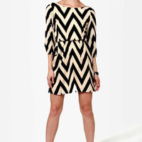 Ziggety Split Black and Beige Dress