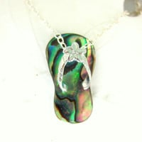 Sterling silver abalone sandle charm necklace
