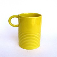 $22.00 festive happy  hand built porcelain yellow cup by clayswan on Etsy