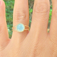 Opal ring, Gold ring, Size 7.5, Pacific Opal ring, stacking ring,  vintage ring, bridal jewelry, swarovski crystal
