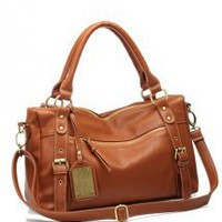 Brown Fashion Satchels Bag With Rivet - Designer Shoes|Bqueenshoes.com