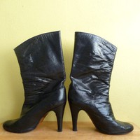 black soft leather stiletto boots for the city by thelittlemarket