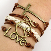 Infinity  bracelet, Cross bracelet, Anti-war peace bracelet,  Love bracelet, Freedom and love bracelet
