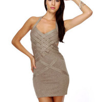 Gorgeous Gold Dress - Halter Dress - Glitter Dress - $52.00