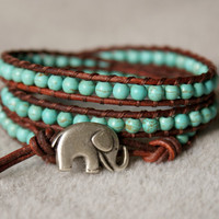 Turquoise bohemian beaded leather wrap bracelet, Good Luck elephant, 3x Wrap bracelet, Chan Luu Style, blue, green, small wrist
