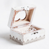 Vintage Style White Ring Bearer Wedding Box -Boho, Wooden, Shabby Chic, Organic, Natural, Eco-Friendly - Jewelry Box