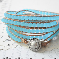 RESERVED LISTING--Sea and Sand- 5 wrap sea glass and genuine leather beaded bracelet