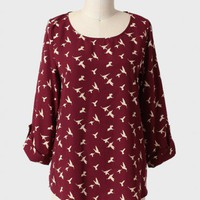taking flight bird print blouse at ShopRuche.com