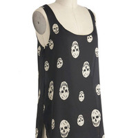 Skull-lastic Looks Top | Mod Retro Vintage Short Sleeve Shirts | ModCloth.com