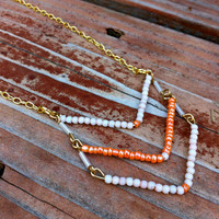 Orange and White Bead Chevron Necklace