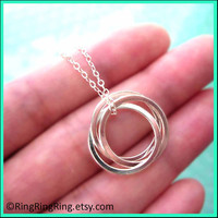 Trinity - silver necklace jewelry, 925 sterling three circles, (Plain or Hammered), Triple ring pendant For Sisters, friendship 090912