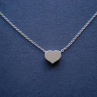 Simple Sterling Silver Heart Necklace -Great Deal