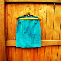 vintage teal suede high waist skirt.  size 7/8. fall fashion