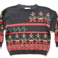 "Shop Now! Ugly Sweaters: ""Space Invader Maricachis"" Vintage 80s Tacky Ugly Sweater Women's Size Small (S) $22 - The Ugly Sweater Shop"