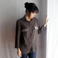 Military wool shirt with silk details - military shirt studded shirt green blouse womens clothing