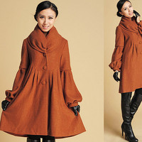 Cute Oversized Cowl neckline Wool cocoon  Coat  (383)