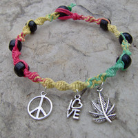 Rasta Color Hemp Bracelet or Anklet with Peace by KnottyanNice