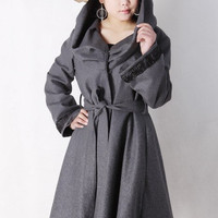 Lover - Dark gery Oversized Cowl neckline Wool Coat
