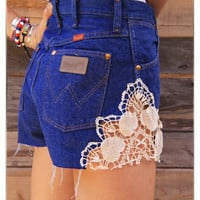 Wrangler Up-cycled Ultra High Rise Cowgirl Cut Denim Heart Crochet Lace Short Daisy Duke Shorts Full of Americana Country Charm Medium
