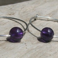 Amethyst Sterling Silver Hoop Earrings