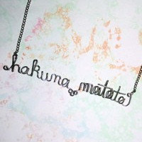 Hakuna Matata Necklace - Lion King Silver Word Phrase Gift For Her