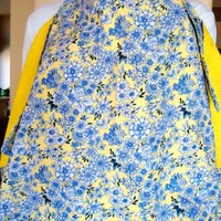 Privacy Cover for Breastfeeding Nursing Baby Handmade Blue Yellow