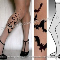 l/xl sexy BATS tattoo tights / stockings/ full length / by post