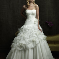 Romantic Ruched Ball Gown With Feather And Flower Accents