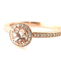 14K Morganite Ring Diamond Halo Morganite Engagement Ring Rose Gold